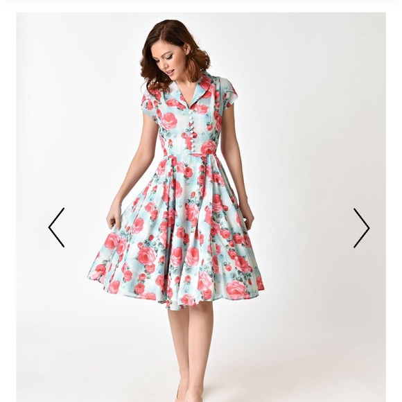 de69a67f223b Hell Bunny Dresses & Skirts - Hell Bunny 1950s Mint Floral Suzannah Swing  Dress